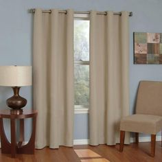 Eclipse Curtains Microfiber Grommet Blackout Curtain Panel- Beige- X Single panel Blocks 99 percent of light Reduces intrusive noise by up to 40 percent Blackout Panels, Blackout Windows, Blackout Curtains, Grommet Curtains, Drapes Curtains, Thermal Curtains, Bedroom Curtains, Valances, Office Curtains