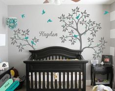 Personalized tree wall decal name decal wall mural sticker trees nature blossom birds wall decal nursery wall decals custom wall decal Baby Room Decals, Wall Mural Decals, Custom Wall Murals, Art Mural, Nursery Wall Decals, Wall Stickers, Wall Art, Vinyl Decals, Wall Tattoo