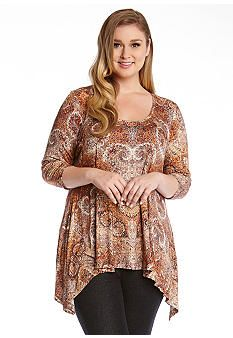 Karen Kane Plus Size Three Quarter Sleeve Tunic #Karen_Kane #Plus #Size #Multicolor #Handkerchief  #Pattern #Tunic #Top  #Plus_Size #Fall #Fashion #Belk