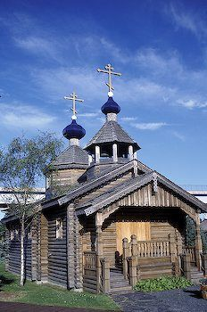 """Wooden church, Alaska, North, just off northwest Canada, above Washington State and Vancouver, British Columbia. Sara Palin """"can see Russia from the shore."""""""