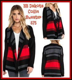 "BB Dakota Collin Sweater $75.00: Colorblocked stripe cardigan with oepn-wrap front, draped lapels, and ribbed shoulder detail. 26 1/2"" length. 100% Acrylic Hand Wash Available size XS-L"