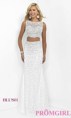 Long Off White Sleeveless Two Piece Prom Dress by Blush at PromGirl.com