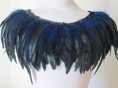 Designer Clothes, Shoes & Bags for Women Dark Fairy Costume, Fairy Clothes, Blue Feather, Capelet, Black Sequins, Glamour, Etsy, Costume Ideas, Feathers