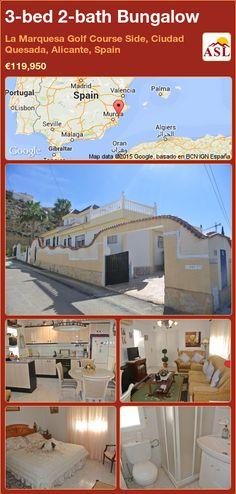 Bungalow for Sale in La Marquesa Golf Course Side, Ciudad Quesada, Alicante, Spain with 3 bedrooms, 2 bathrooms - A Spanish Life Alicante, Valencia, Portugal, Bungalows For Sale, Side Garden, Family Bathroom, Double Bedroom, Murcia, Great View