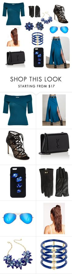 """""""Sapphire"""" by atsuki2004 ❤ liked on Polyvore featuring Pour La Victoire, Yves Saint Laurent, STELLA McCARTNEY, Ted Baker, Ray-Ban, Missguided, Kate Spade, Elizabeth and James and Nina"""