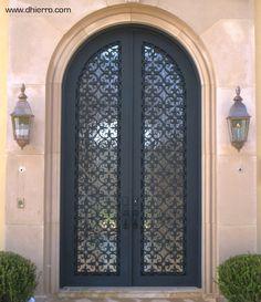 Iron Doors - Exterior - mediterranean - front doors - dallas - by D'Hierro Main Entrance Door Design, Front Door Design, Entrance Doors, Iron Front Door, Glass Front Door, Front Entry, Wrought Iron Doors, Arched Doors, Mediterranean Front Doors