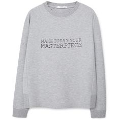 MANGO Cotton-Blend Message Sweatshirt ($30) ❤ liked on Polyvore featuring tops, hoodies, sweatshirts, print sweatshirt, patterned sweatshirts, round top, sweatshirt hoodies and mango tops