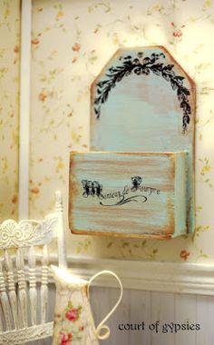 ••   Shabby Dollhouse Planter Box in azul de Tiffany