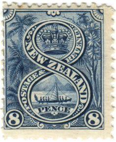 stampdesigns:    New Zealand postage stamp: Maori canoe  c. 1898