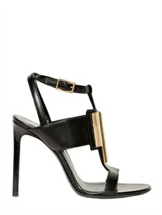 Style - Minimal + Classic : YSL 105MM JANIS CALFSKIN GOLD PLAQUE SANDALS