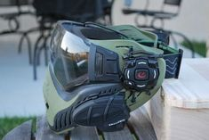 'V Force Profiler' Paint Ball Full face mask (Olive Drab)  With added tech:  Midland BT Bluetooth Motorbike Com.   And Recon Snow 2 Heads Up Goggle display + iPhone / iPod controller (Wristband or Helmet Mounted)