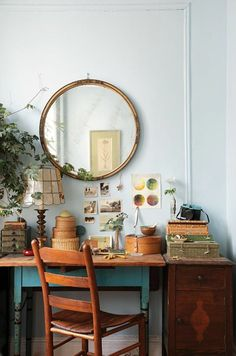 The bohemian aesthetic understands that in order for an office to be creative, it has to be at least a little bit cluttered. The desk above is from the home of Brooklyn florist Nicolette Camille, captured by Design Sponge.