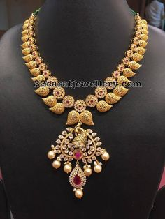 Mesh Style Mango Necklace with Uncuts