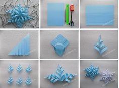 Как сделать объемную снежинку из бумаги ❄  Для работы потребуется:  -лист бумаги; -ножницы; -карандаш; -линейка; -клей ПВА.  Как сделать объемную снежинку из бумаги своими руками