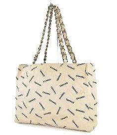 1d559265c20f Authentic CHANEL Beige Canvas Gold Chain Tote Shoulder Bag Purse  27138 Shoulder  Bag