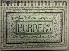 doodle borders + andere pagina's uit schetsboek, more journal ideas with various sample colors and mediums.