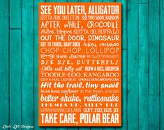 Goodbye Sign - See You Later Alligator - After While Crocodile - Subway Art - Nursery Rhyme - Teacher Decor - Childrens Art - Pick any Color