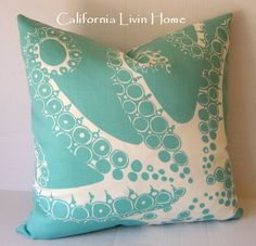 "OCTOPODA /  Coastal Octopus Pillow Cover / Outdoor Fabric / Turquoise / 20"" x 20"" / Designer fabric / Decorative Pillow. $42.00, via Etsy."