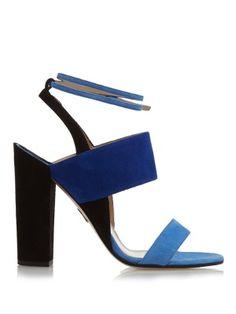 Colour-block suede sandals