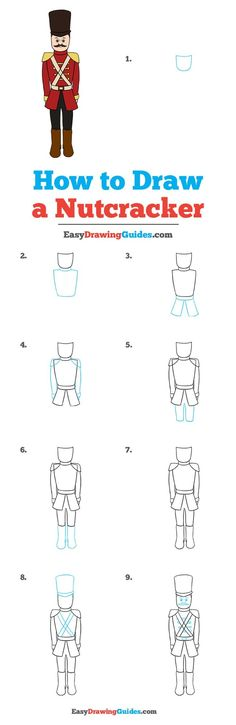 Learn to draw a nutcracker. This step-by-step tutorial makes it easy. Kids and beginners alike can now draw a great looking nutcracker for Christmas. Easy Drawing Tutorial, Drawing Tutorials For Kids, Drawing For Kids, Drawing Ideas, Drawing Drawing, Cartoon Drawings Of Animals, Animal Sketches, Drawing Animals, Easy Animals