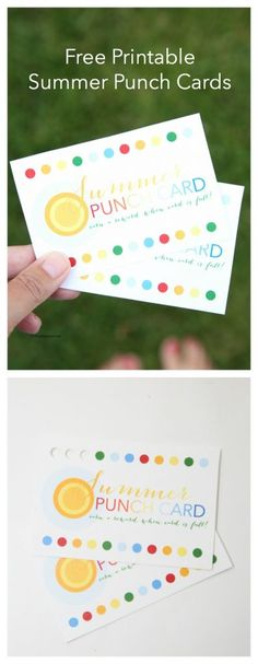Summer Fun Ideas  Free Summer Printable Punch Cards Sometimes it can be hard to help your kids be motivated to get a mundane task done.  I have used Reward Punch Cards with my kids here and there when they were struggling to get something done.