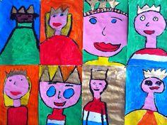 Kroontjes voor koningen en koninginnen (groep 4). Allereerst met zwart contouren schilderen en daarna pas 'inkleuren'.
