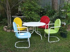 Retro Metal Lawn & Patio Chairs with Table....
