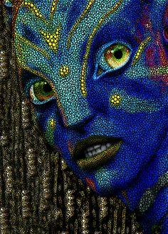 Jack Sully (Avatar) Mini Art Print by Dot Art Painting, Mandala Painting, Aliens, Cool Optical Illusions, Arte Tribal, Value In Art, Mandala Dots, 3d Prints, Pointillism