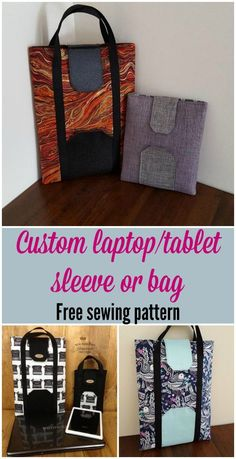 Sleeve or bag for your tablet or laptop, free sewing pattern. Add your size into the simple calculator to get the sleeve size that's perfect for your device. Easy Sewing Patterns, Bag Patterns To Sew, Sewing Ideas, Sewing Tips, Sewing Tutorials, Clothing Patterns, Sewing Courses, Diy Bags Purses, Bag Pattern Free