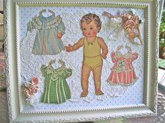 like it on top of doilly-The Polka Dot Closet: Vintage Framed Paper Dolls Vintage Paper Dolls, Vintage Crafts, Vintage Toys, Vintage Decor, Vintage Style, Paper Doll Craft, Doll Crafts, Paper Crafts, Sewing Art