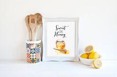 Illustration Print Sweet Like Honey Love by #PrintableBeautyArt #Love_Quote #Kitchen_decor #Watercolor_Decor #Kitchen_Wall_Art #Watercolor_Art #Honey_Print