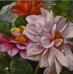 """Daily Paintworks - """"Pink Dahlias"""" by Joanna Olson"""