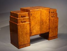 Antique Art Deco Walnut Side Cabinet / Sideboard