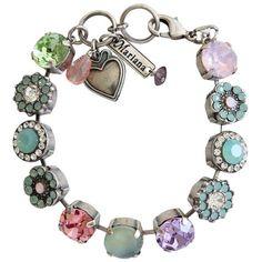 "Mariana Silver Plated Large Flower Shapes Swarovski Crystal Bracelet, 7.5"" Available at www.regencies.com"