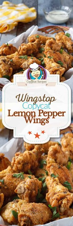 Wingstop Lemon Pepper Wings - you can recreate these famous wings from Wingstop! Enjoy making the best Lemon Pepper wings at home with this copycat recipe. Lemon Pepper Chicken Wings, Wingstop, Great Recipes, Favorite Recipes, Copykat Recipes, Chicken Wing Recipes, Baked Chicken, Recipe Chicken, Chicken Bacon