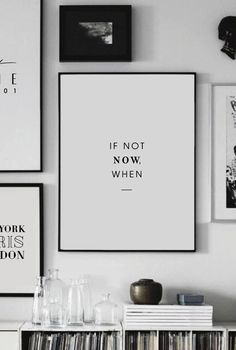 Printable Art - If not Now, when - Printable Wall Art - Wall Decor - Home Decor - Digital Print - Motivation Print - Quote Prints - Digital - Wandkunst Office Wall Decor, Office Walls, Wall Art Decor, Black Wall Decor, Office Artwork, Office Prints, Wall Decorations, Framed Quotes, Wall Art Quotes
