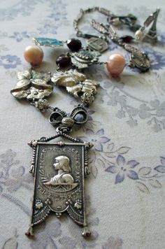 FLOWER of FRANCE  vintage assemblage necklace by TheFrenchCircus, $167.00