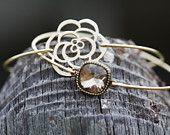 Mocha Rose-Smoky Topaz-Bangle Bracelet Set- Rose Bangle- Minimalist Jewelry- Personalized Custom Bangle- Bridesmaids Gift Ideas