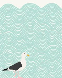 seagull and ocean waves art print