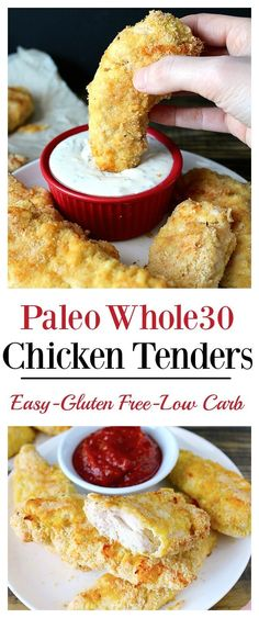 Paleo Chicken Tenders- easy, quick, and so delicious! The popular meal made gluten free, dairy free, and low carb! paleo lunch whole 30 Dairy Free Recipes, Low Carb Recipes, Whole Food Recipes, Cooking Recipes, Healthy Recipes, Paleo Food, Meal Recipes, Paleo Pizza, Quick Recipes