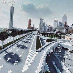 The M2 speedway in the Minecraft Ono City Minecraft City, New York Skyline, Skyscraper, The Past, Public, Building, Travel, Instagram, Skyscrapers