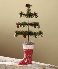 Vintage Style Feather Tree in Red Boot | Old Fashion Christmas Decorations at TheHolidayBarn.com