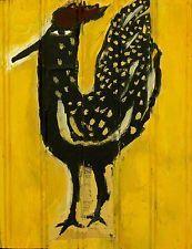 BLACK ROOSTER Outsider aRTIST T-Marie Nolan RAW Folk Art Brut Naive Painting