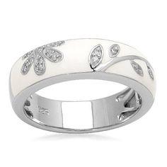 Sterling Silver Diamond White Enamel Floral Design Stack Ring (1/20 cttw, I-J Color, I3 Clarity),
