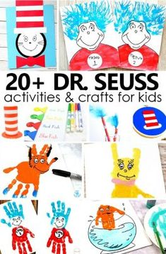 Dr. Seuss, Dr Seuss Art, Dr Seuss Crafts, Dr Seuss Week, Preschool Crafts, Dr Seuss Preschool Art, Funny Crafts For Kids, Daycare Crafts, Dr Seuss Activities