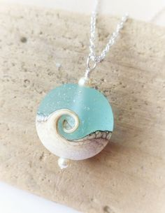 Wave Necklace, Ocean Lampwork Necklace, Beach Wedding, Lampwork Jewelry, Wave Pendant, Gift, Beach Jewelry, Beach Necklace