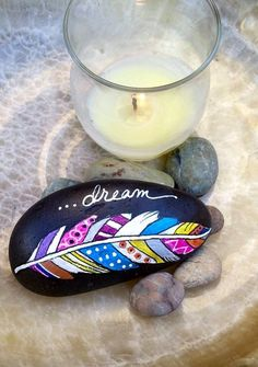 Dream painting - DIY Ideas Of Painted Rocks With Inspirational Picture and Words – Dream painting Dream Painting, Pebble Painting, Pebble Art, Stone Painting, Diy Painting, Painting Stencils, Painting Patterns, Stone Crafts, Rock Crafts