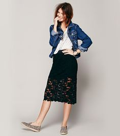 Free People Rosey Pencil Skirt with floral lace detail and scalloped hem
