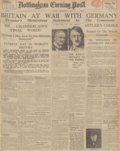 Newspapers ©: [Britain declared war on Nazi Germany on 3 September You can read the newspaper headlines from that day at The British Newspaper Archive. Newspaper Headlines, Old Newspaper, World History, World War Ii, Art History, British History, American History, History Facts, Journal