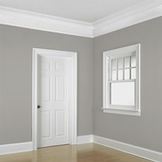 Trendy Bedroom Paint Colors With Wood Trim Gray Walls Bedroom Paint Colors, Bathroom Colors, Bathroom Grey, Bathroom Ideas, Wall Colors, Baseboard Styles, Baseboard Ideas, Wainscoting Ideas, Moldings And Trim